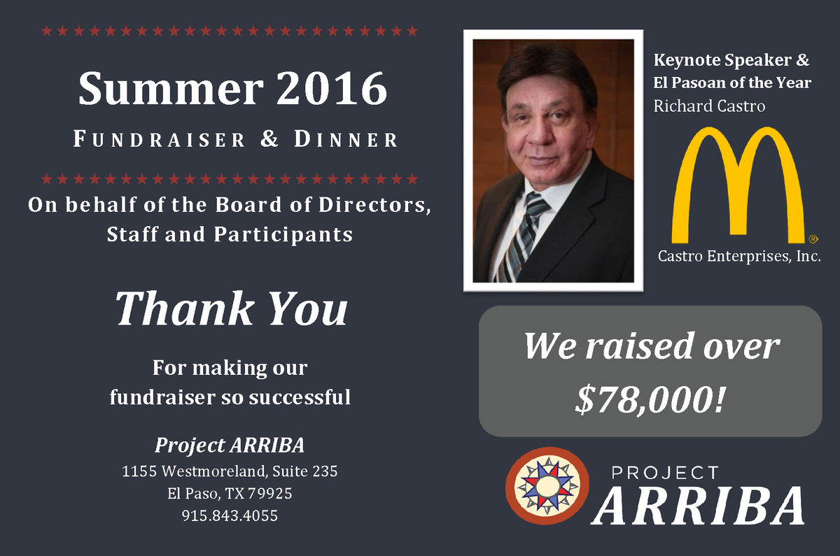 Summer 16 fundraiser thank you